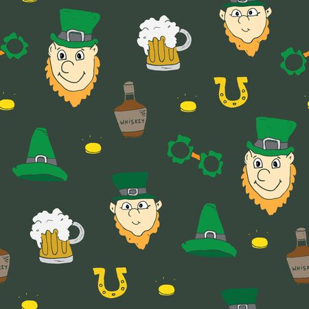 St Patrick's Day hand drawn doodle Seamless pattern, vector illustration background.