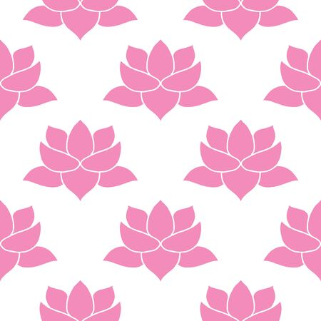 Lotus flower Seamless Pattern, Hand Drawn doodle background. Vector illustration.