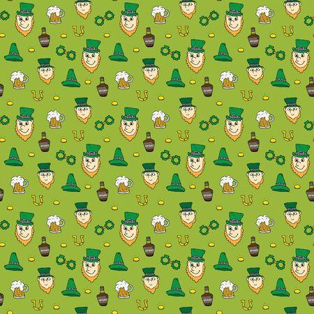 St Patricks Day hand drawn doodle Seamless pattern, vector illustration background. 向量圖像