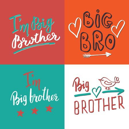 Big brother, Calligraphic Letterings signs set, child nursery printable phrase set. Vector illustration.