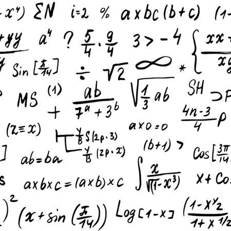 Matheformeln nahtloses Muster, handgezeichnet, mathematische Gleichungen, Vektorillustration. Vektorgrafik