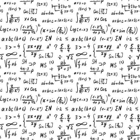 Math formulas seamless pattern, hand drawn, mathematical equations, vector illustration.