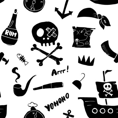 Pirate Doodles Seamless pattern. Cute pirate items sketch. Hand drawn Cartoon Vector illustration. Vecteurs