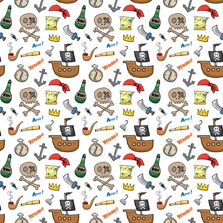 Pirate Doodles Seamless pattern. Cute pirate items sketch. Hand drawn Cartoon Vector illustration.