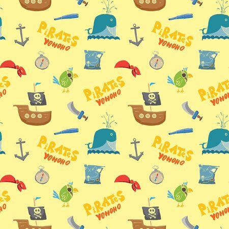 Pirate Doodles Seamless pattern. Cute pirate items sketch. Hand drawn Cartoon Vector illustration. Vektorgrafik