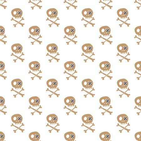 Skulls and bones Seamless pattern. Cute Doodles pirate sketch. Hand drawn Cartoon Vector illustration.