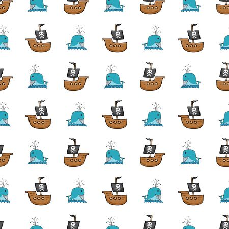 Pirate boat and whale Seamless pattern. Cute Doodles pirate sketch. Hand drawn Cartoon Vector illustration.