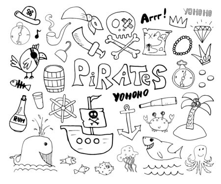 Pirate Doodles Set. Cute pirate items sketch collection. Hand drawn Cartoon Vector illustration.