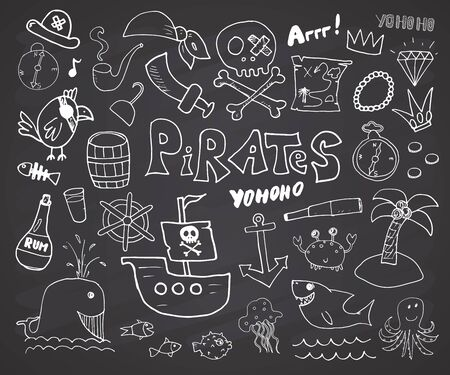 Pirate Doodles Set. Cute pirate items sketch collection. Hand drawn Cartoon Vector illustration on chalkboard background.