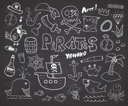 Piraten-Doodles-Set. Nette Piratenartikel-Skizzensammlung. Handgezeichnete Cartoon-Vektor-Illustration auf Tafel Hintergrund.