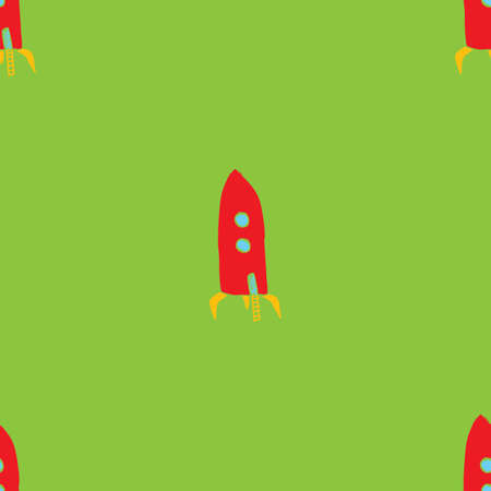 Rocket Seamless pattern. Cute Doodles space ships sketch. Hand drawn Cartoon Vector illustration.