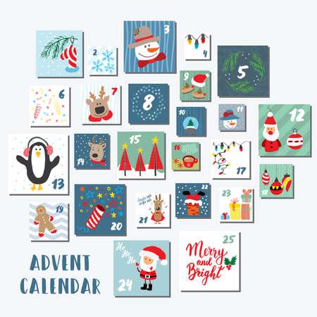 Christmas advent calendar. Hand drawn elements and numbers. Winter holidays calendar cards set design, Vector illustration. Illustration