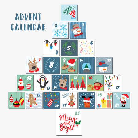 Christmas advent calendar. Hand drawn elements and numbers. Winter holidays calendar cards set design, Vector illustration. Ilustración de vector