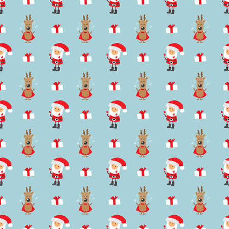 New Year and Christmas seamless pattern, hand drawn doodles Seamless Pattern. Background Vector Illustration. Illustration