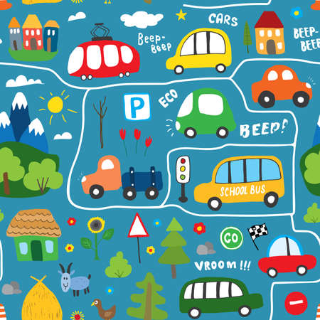 Cute Cars Seamless Pattern, Cartoon transportation Doodles Background, vector Illustration.