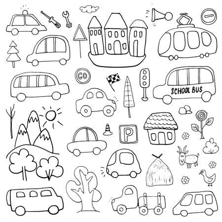 Cars Cartoon Set. Cute transport Doodles collection, vector illustration.