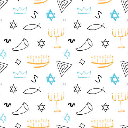 Jewish items seamless pattern, Jewish hand drawn lineart icons background, vector illustration.