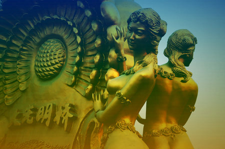 sculptures: Tianjin haihe River Bridge sculptures Editorial