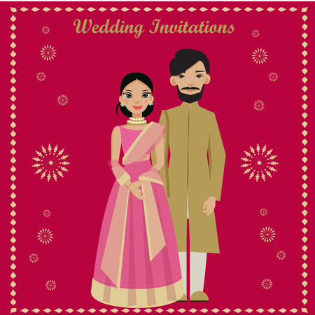 indian couple in wedding invitations card.