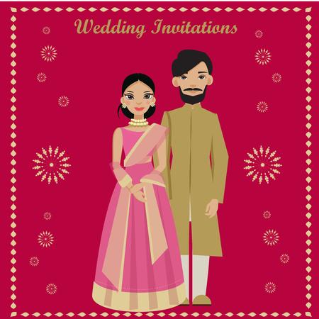 Indisch paar in de kaart van huwelijksuitnodigingen.