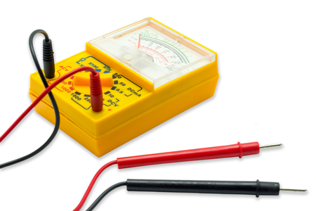 Yellow AC DC Analog Multimeter on white background.