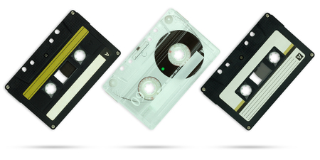 Set of Compact cassette on isolate white background with clipping path.