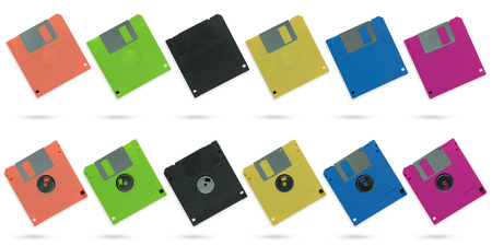 Set of multicolour diskette on isolate white background with clipping path.