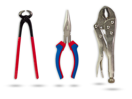 Set of pliers on isolate white background