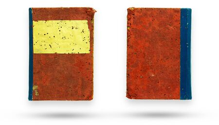 Front and back of red canvas cover old book. Isolate and clipping path on white background.
