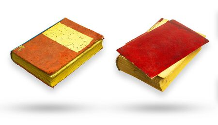 Red canvas and red leather cover old book. Isolate and clipping path on white background. Banco de Imagens