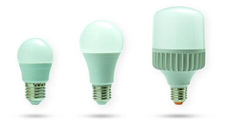 Set of LED daylight bulb. Concept of Energy saving and global warming. Isolate and clipping path on white background. Stok Fotoğraf