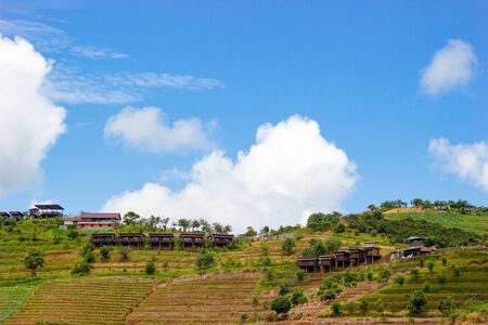 Resort on mountain with blue sky and white cloud. Travel or place to relax.