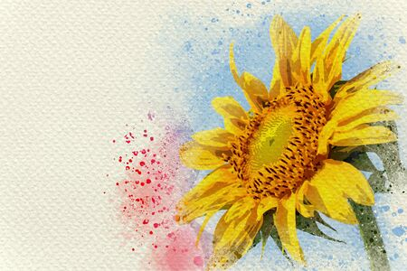 Sunflower in blue sky background. Digital watercolor painting effect. Copy space for text. Stock Photo - 132061271