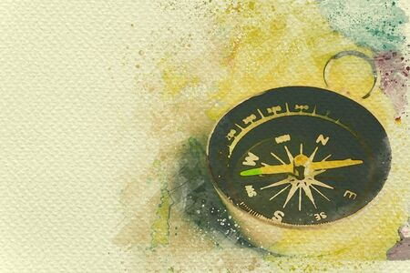Compass on paper map. Digital watercolor painting effect. Copy space for text.