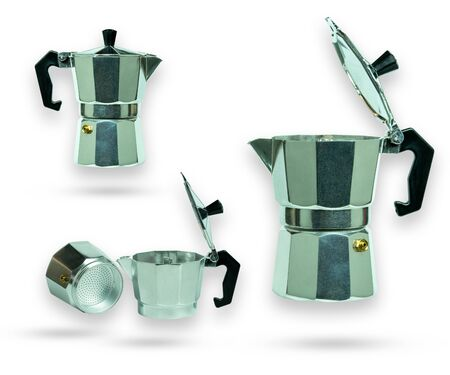 Set of moka pot. Equipment for make a coffee.