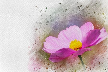 Pink flower in meadow. Digital watercolor painting effect. Copy space for text.