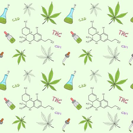 Pattern seamless background of Cannabis or hemp oil and equipment. Alternative medicine to treat various diseases.