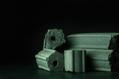 Carbon activated. Bamboo charcoal compressed in to stick on darkness background. Has the ability to absorb toxins in the human body. Concept of health care. Closeup and copy space.