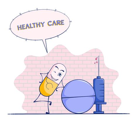 Capsule cartoon or pill mascot and syringe vector on white background. Healthy care concept.