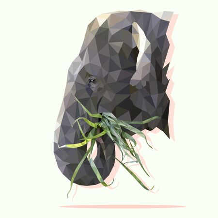 Low poly the head of elephant chewing grass on white background. Polygonal vector illustration design. Ilustração