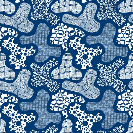 Vector seamless pattern abstract in style on navy blue background. Ilustração