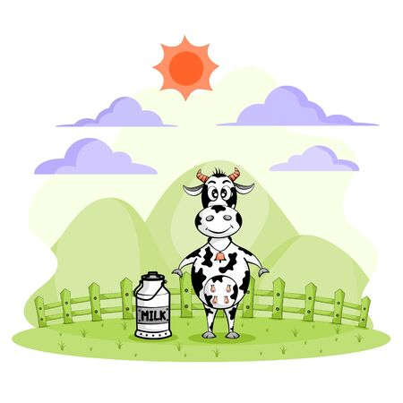 Cute cow cartoon and milk bucket in farm on white background. Concept of Lets drink milk. vector illustration flat design.
