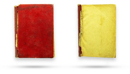 Red leather cover old vintage book and blank page. Isolate and clipping path on white background.
