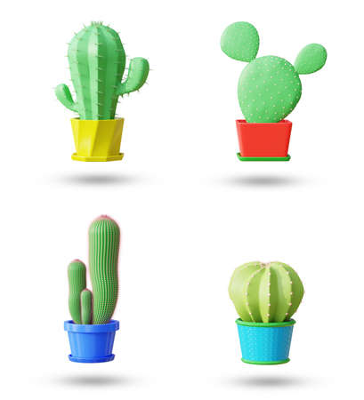 Set elements of cactus in cartoon minimal style with white background . It is a plant that lives in the western desert. The concept of lover cactus. 3D illustration rendering.