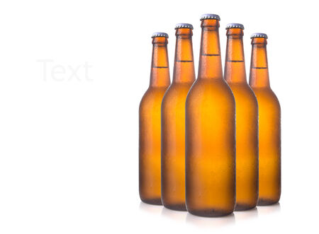 Beer bottles isolated on white photo