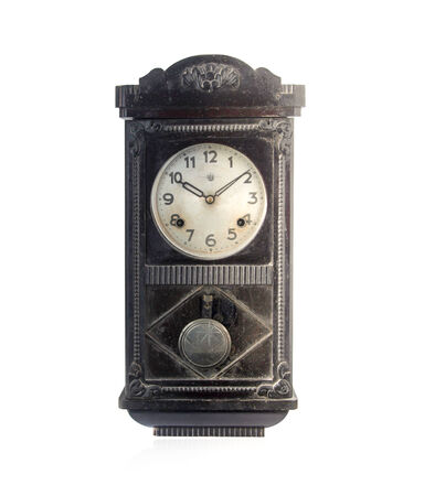 antique furniture: antique clocks isolated on white  Stock Photo