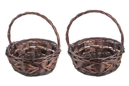 willow fruit basket: Empty fruit baskets isolated on white Stock Photo