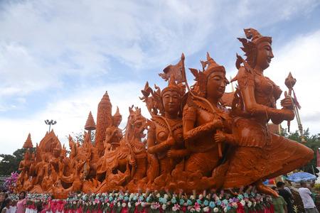 Ubon Ratchathani,THAILAN D - July 12   Line Thai art of Candle Festival ,Thai art Candle wax, on July 12, 2014, Ubon Ratchathani, Thailand