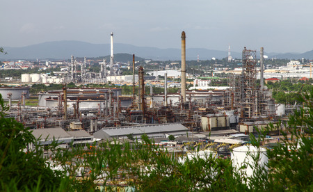 Petrochemical industrial plant power station at day of Thailand. photo