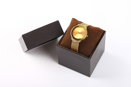 luxury watch: Luxury watch in box isolated on white background.